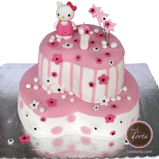 Torta Hello Kitty na srcima