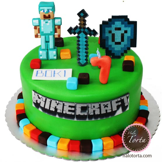 Torta Minecraft-Diamond Stiv, mac i stit