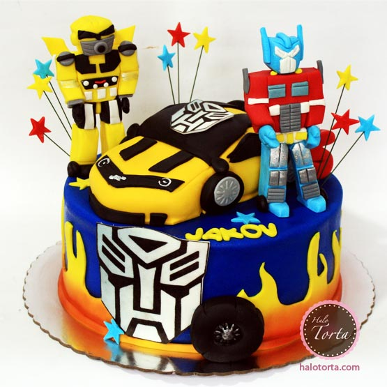 Torta Transformersi Optimus Prime i Bumble Bee